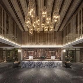 新中式酒店大堂3D模型【ID:127876859】