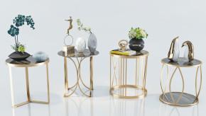 现代金属圆几边几花瓶摆件组合3D模型【ID:127752349】
