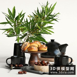 現代食物裝飾品組合國外3D模型【ID:929446813】