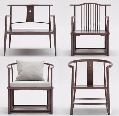 新中式單椅組合3D模型【ID:228233455】