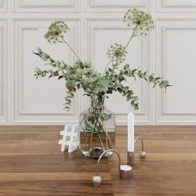 现代玻璃花瓶3d模型【ID:248245426】