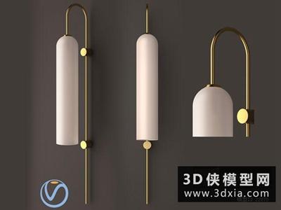 現代金色壁燈國外3D模型【ID:829403853】