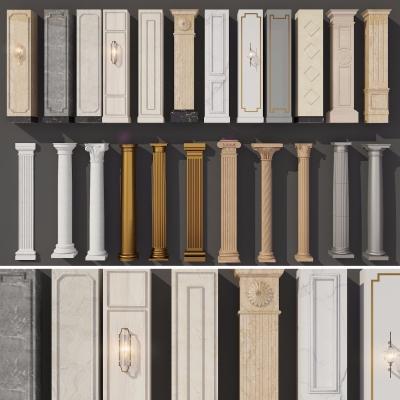 歐式石膏雕花羅馬柱組合3D模型【ID:627806956】