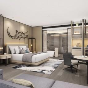 现代酒店客房卫生间3D模型【ID:427795674】