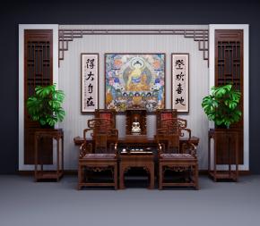 中式佛龕端景臺背景墻單椅花架組合3D模型【ID:327785682】