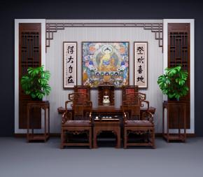 中式佛龛端景台背景墙单椅花架组合3D模型【ID:327785682】