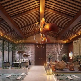新中式茶室休息区3D模型【ID:327923777】