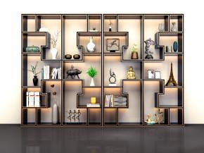 新中式博古架装饰架摆件书籍组合3D模型【ID:927817244】