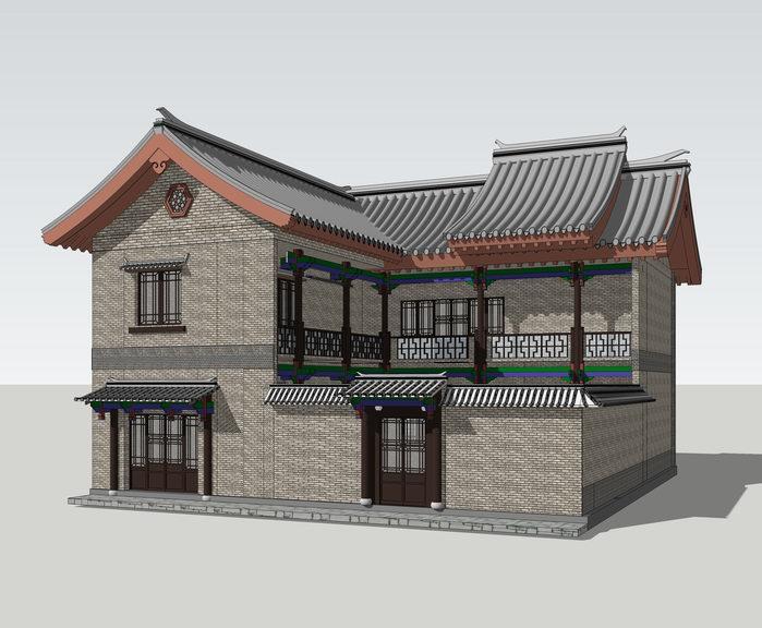 一颗印中式民居SU模型【ID:336978248】