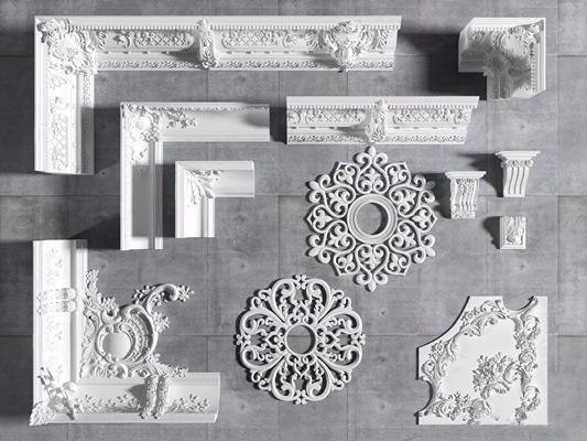 歐式石膏角線花線頂石組合3D模型【ID:828325605】