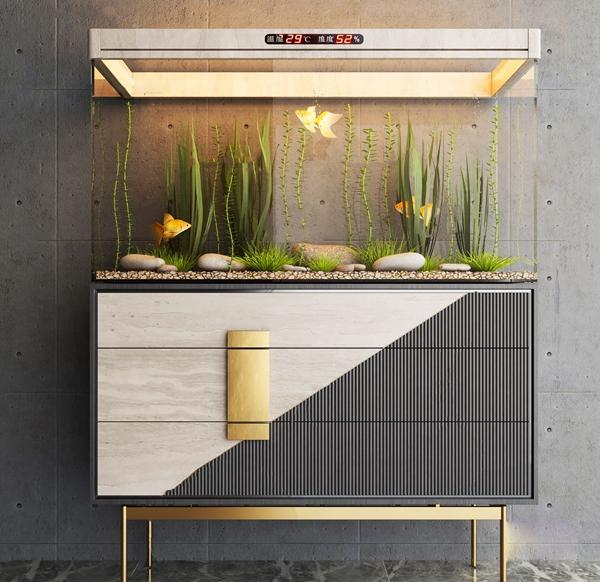 北歐景觀魚缸水族箱3D模型【ID:247686536】