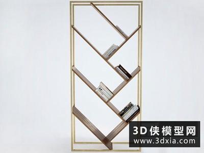 现代书柜国外3D模型【ID:829450068】