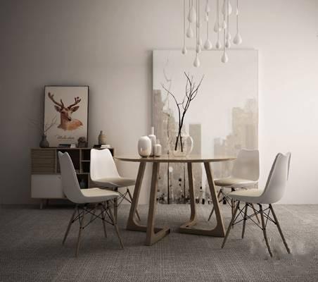 餐桌椅组合3D模型【ID:120018862】