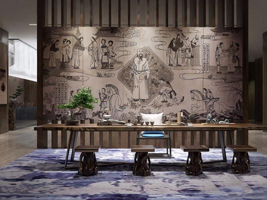 新中式售楼处茶台3d模型【ID:328252681】