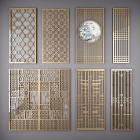 中式镀金雕花屏风镂空隔断组合3D模型【ID:827814429】