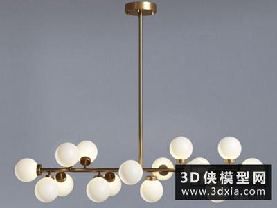 现代金属吊灯国外3D模型【ID:829455794】