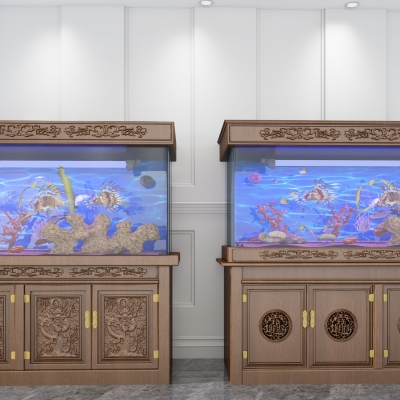 新中式鱼缸水族组合3D模型【ID:628458759】
