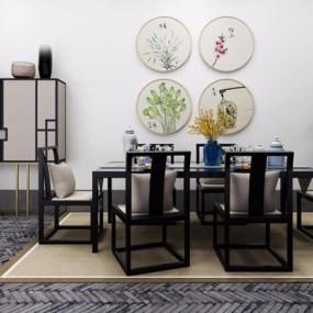 新中式餐桌椅高柜组合3D模型【ID:327914442】