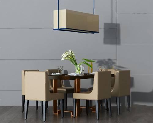 中式餐桌椅组合3D模型【ID:120616897】