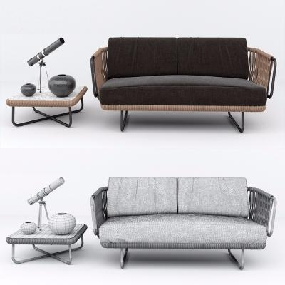 现代藤编双人沙发3D模型【ID:128408297】
