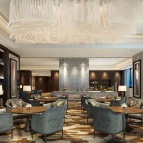 新中式酒店餐厅3D模型【ID:728154841】
