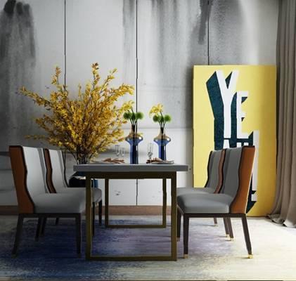 现代餐桌椅组合3D模型【ID:120601817】