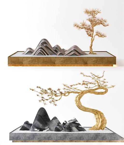 新中式假山松樹擺件3D模型【ID:249329504】