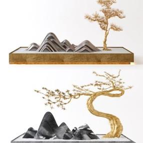 新中式假山松树摆件3d模型【ID:249329504】