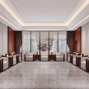 新中式酒店会客室贵宾接待室3D模型【ID:427796533】