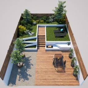 現代戶外庭院花園3d模型【ID:549328691】