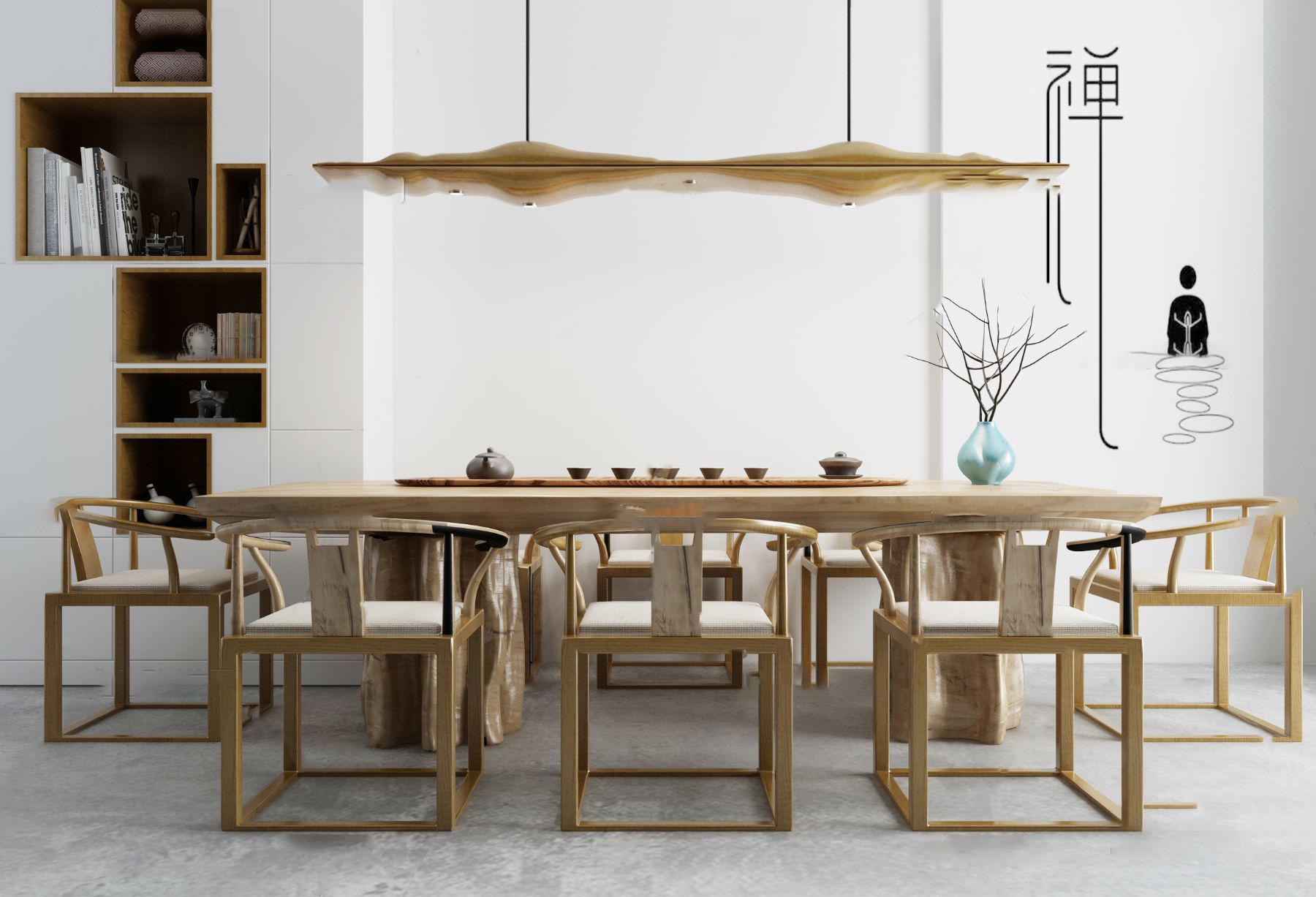 新中式茶桌椅3D模型【ID:242180482】