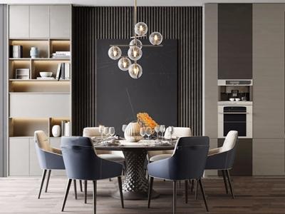 现代餐桌椅组合3D模型【ID:842043853】