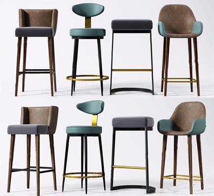 现代吧椅组合3D模型【ID:328240153】