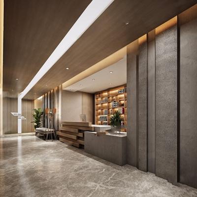 現代酒店走道3D模型【ID:427990832】