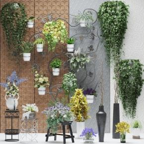 现代植物盆栽吊篮花瓶花卉组合3D模型【ID:327785822】