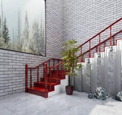 中式楼梯3D模型【ID:220604829】
