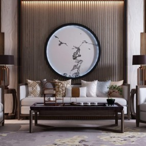 新中式沙发茶几组合3D模型【ID:128213040】