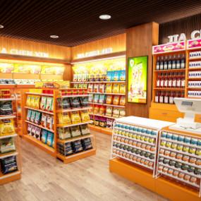 现代商场超市货架收银台摆件组合3D模型【ID:927816264】