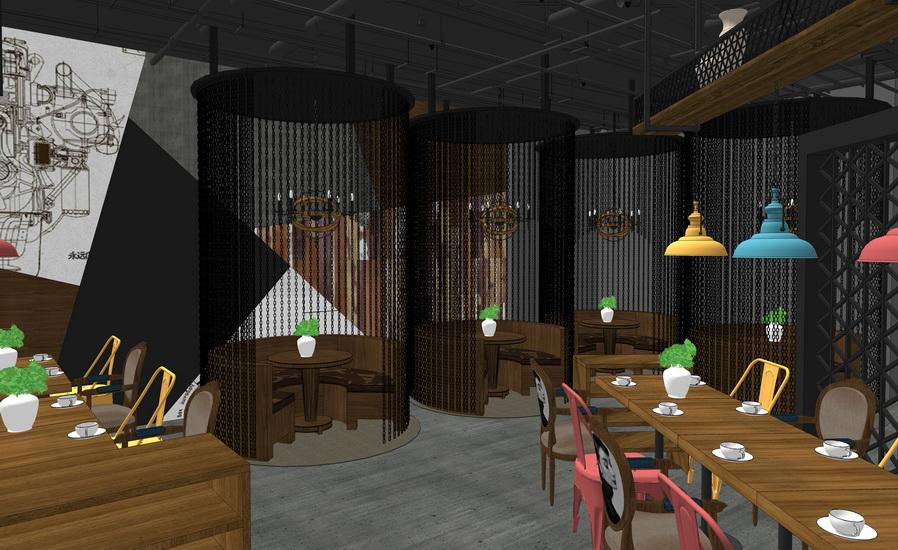 復古工業風餐廳室內設計SU模型【ID:936990863】