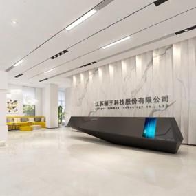 现代办公室前厅3D模型【ID:728116711】