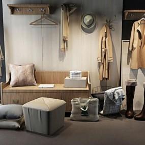 北欧鞋柜挂衣板鞋帽组合3D模型【ID:828134785】