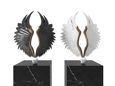 天使翅膀雕塑摆件3D模型【ID:341632194】