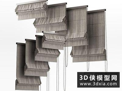 现代挂帘国外3D模型【ID:329570860】