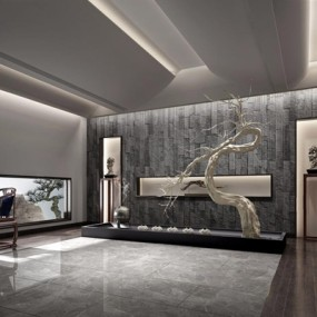 新中式禅意前厅前台大堂3D模型【ID:427978235】