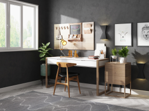 北歐書桌椅角幾擺件組合3D模型【ID:127754928】