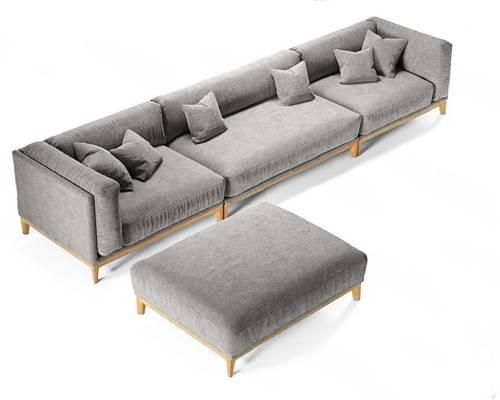 现代多人沙发3D模型【ID:720606102】