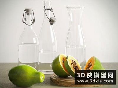 木瓜玻璃瓶子組合國外3D模型【ID:929524558】