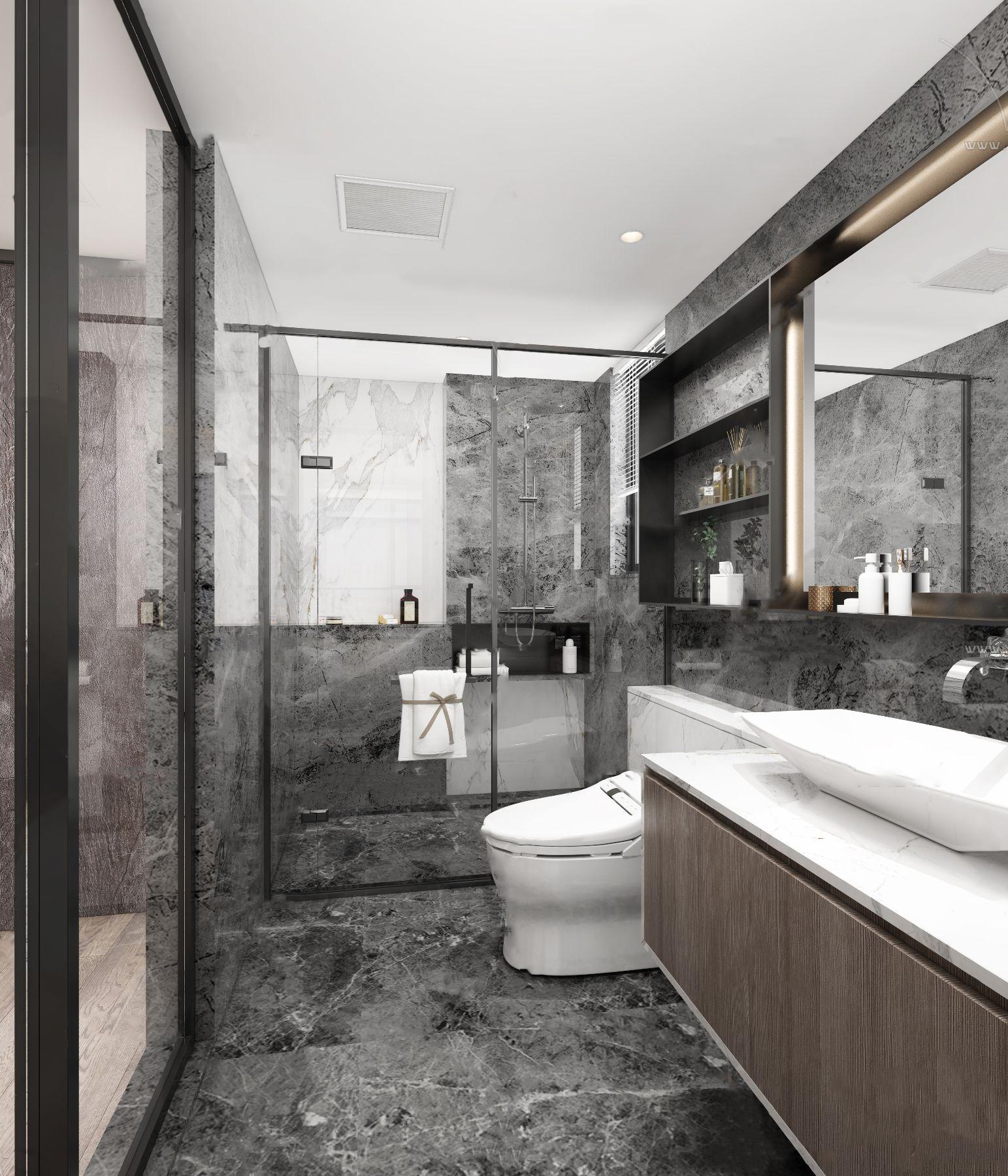 现代高级灰卫生间浴室3D模型【ID:543427085】