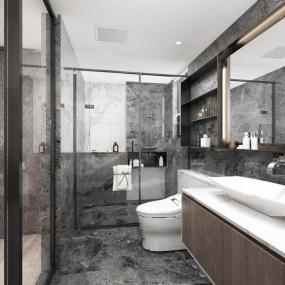 �F代�κ指呒�灰�l生�g浴室3d模型【ID:543427085】