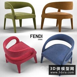 现代休闲椅国外3D模型【ID:729319854】